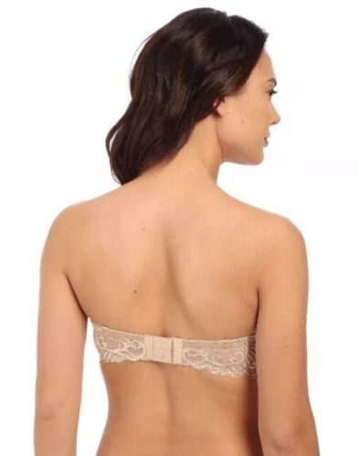 Natori Feathers Convertible 731023 Strapless Plunge  Bra Nude 34C W//out Straps