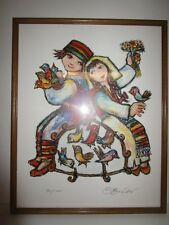 Vintage Limited Edition 741/1000 Lithograph Jovan OBican Girl, Boy & Bird Cage