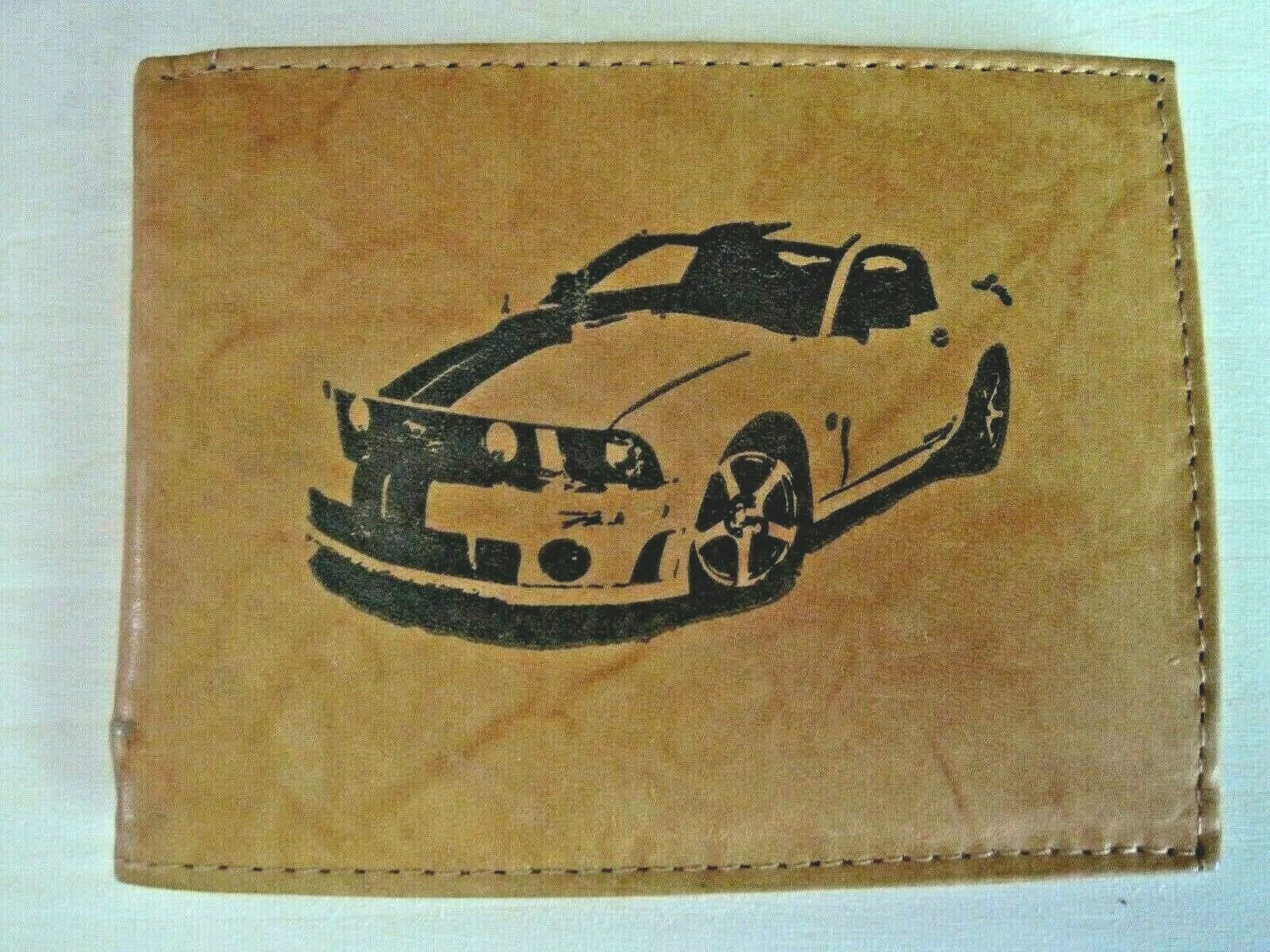 Mens Custom Bifold Leather Wallet-2006 ROUSH MUSTANG GT Muscle Car Image *Gift*
