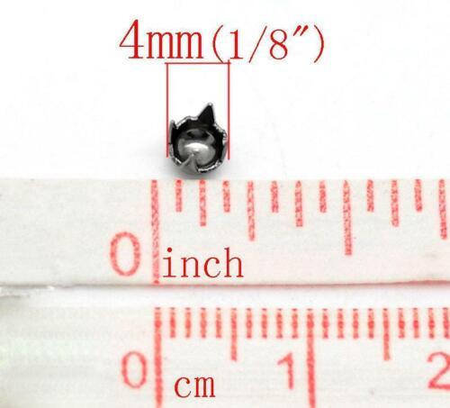 Metal 100 Gunmetal Rivet Stud Spikes 4mm Rivets Studs Spike 4 Legs B189
