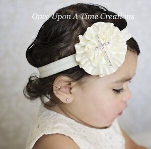 ivory satin flower headband baby hair bow cross hairbow