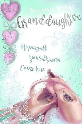 Nieta Lindo Bailarina Zapatos Hearts & flowers Diseño Feliz Cumpleaños Tarjeta