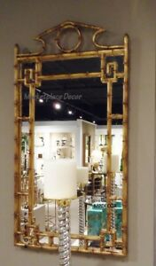 Gold-Iron-Bamboo-Chippendale-Wall-Mirror-Pagoda-Asian-Hollywood-Regency-42-034-H