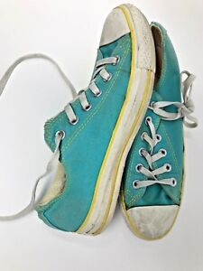 84ddf6249bbba Details about Converse Low Top Mint Yellow trim style Shoes women's size 8