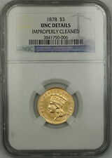 1878 $3 Dollar Gold Coin Ngc Unc Details Improperly Cleaned (Choice)