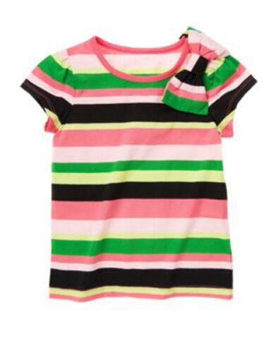 NWT Gymboree Palm Beach Paradise Top Size 6 Stripe Bow Tshirt Pink Black Green