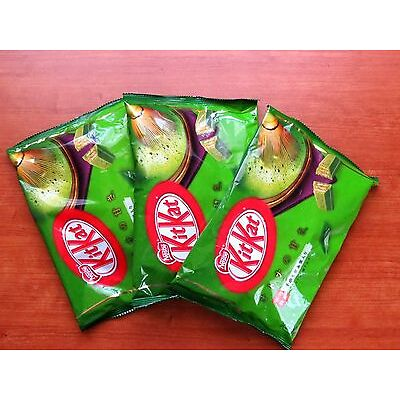 3 packages of KitKat green tea chocolate made in  Japan sweets maccha matcha