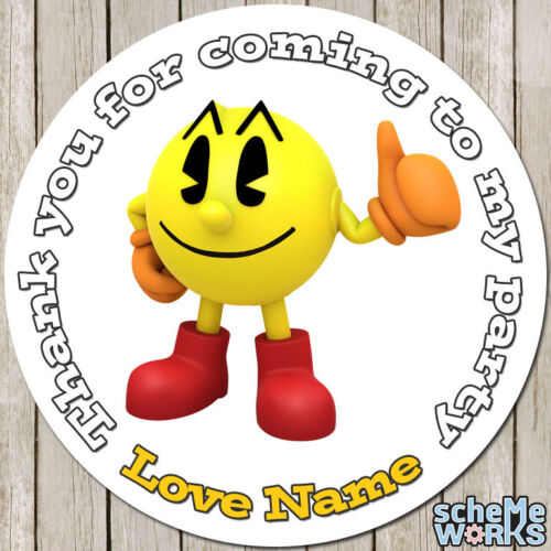 Pacman 45mm 64mm Circle Rectangle Personalised Birthday Stickers Party Game S030