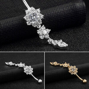 Details About New Belly Button Piercing Bars Barbells Navel Flower Crystal Ring Body Jewellery