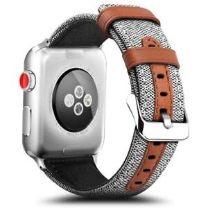 For Apple Watch Series 3 2 1 Hybrid Canvas Leather Wrist Iwatch Band Strap 42mm Ebay