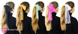 1980'S LACE HEADBAND NEON 80S HAIR HEAD SCARF FANCY DRESS COSTUME ACCESSORY