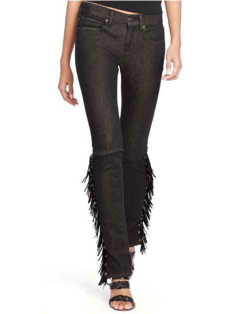 a07cf936f1 Polo Ralph Lauren Tompkins Fringed Skinny Jeans, Black, Size 30,  Orig.$298.00!