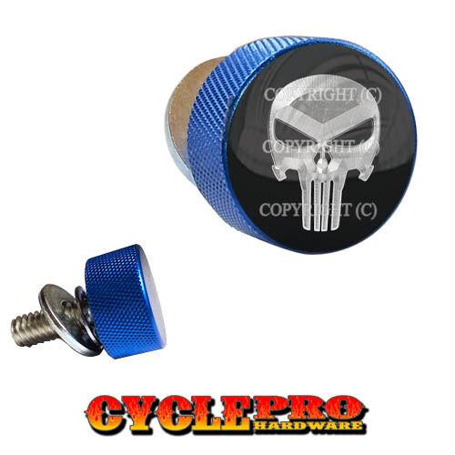047 Blue Knurled Billet Seat Bolt 96-UP Harley Touring PUNISHER SKULL