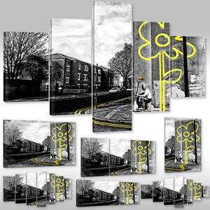 Canvas-Picture-Art-Print-Graffiti-Street-Banksy-Yellow-Flower