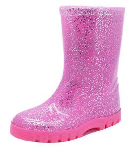 GIRLS-PINK-GLITTER-WELLIES-RAIN-SPLASH-SCHOOL-WELLINGTON-BOOTS-KIDS-SIZES-5-12