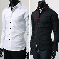 Top Fashion Men Button Down Casaul Shirts Tops Luxury Slim Fit Dress Shirts