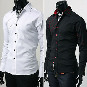 Trendy Mens Casual Button Down Slim Fit Long Sleeve Casual/Formal ...