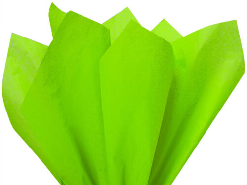 """BRIGHT LIME GREEN Tissue Paper for Gift Wrapping 15/""""x20/"""" Sheets Eco-Friendly"""