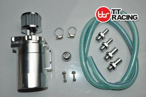 0.5L Aluminum Car Oil Catch Tank Can Reservoir Breather Silver Air Filter 19mm