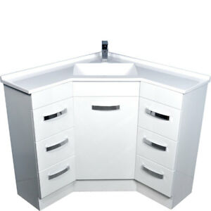 Corner Bathroom Vanity Cabinet Poly Basin Top 9090 Ebay