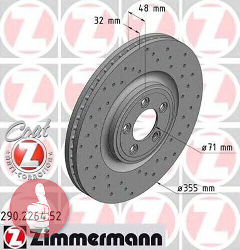 Zimmermann gelochte SPORT Bremsscheiben 355mm belüftet Vorderachse