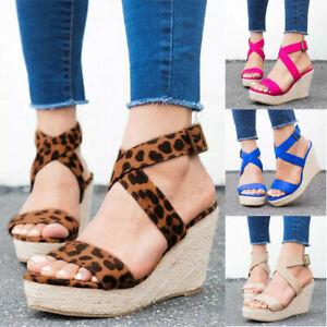 Womens-Ankle-Strap-Buckle-Sandals-Ladies-Wedge-Platform-Heels-Summer-Shoes-Size