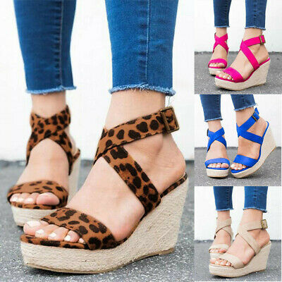 Womens Ankle Strap Buckle Sandals Ladies Wedge Platform Heels Summer Shoes Size   eBay