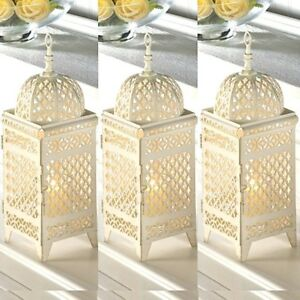 Tremendous Details About 3 Rustic Moroccan Lantern 11 5 White Ivory Candleholder Wedding Centerpieces Download Free Architecture Designs Sospemadebymaigaardcom