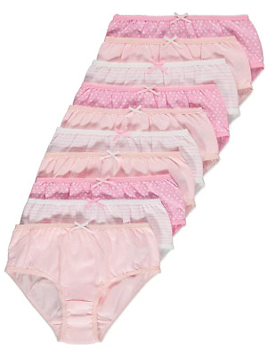 10 Pack Pink White Girls Heart Strips Briefs Knickers Shorts Pants Age 2-14 Year