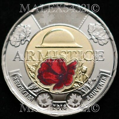 2018 $2 REMEMBRANCE DAY ARMISTICE CENTENARY COLOURED UNOPENED Mint Roll 25 Coins