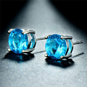 Lovely-Round-7mm-Created-Blue-Topaz-925-Sterling-Silver-Stud-Earrings