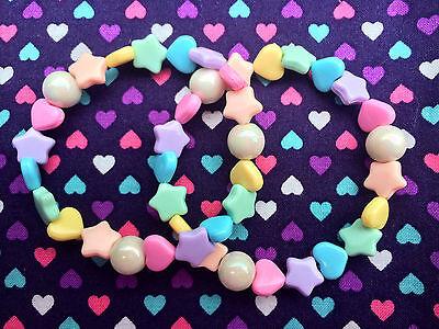 2 x Cute Rainbow Heart & Star Beaded Bracelets...Kawaii / Lolita / Fairy Kei
