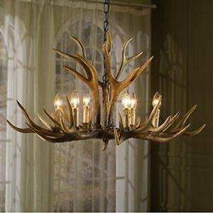 Realistic-Deer-Antler-Vintage-Style-Resin-6-Lt-Chandelier-36-034-X-36-034-Hand-Painted