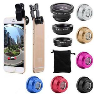 3 in 1 Lens Kit Universal Cell Phone Clip-on Wide Angle Fish Eye Macro Camera GU
