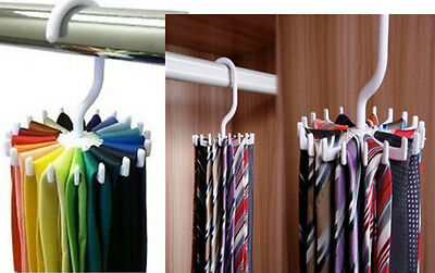 Adjustable Rotating 20 Hook Neck Ties Organizer Men Tie Rack Hanger Holder  SHUS