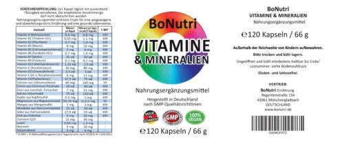 Hochdosierte lebenswichtige 23 Vitamine /& Mineralien 120 Kapseln 2-Monatsbedarf