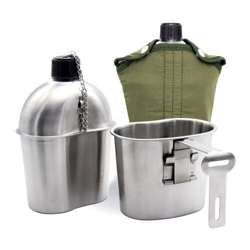 Edelstahl US Feldflasche Wasserflasche Trinkflasche mit Trinkbecher 1L//1,2L