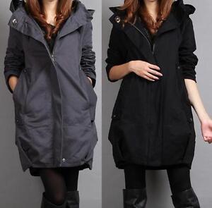 Kvinders Fashion Langjakke bomuldshætte lynlås Trenchcoat koreanske Windbreaker Ny aqaBr