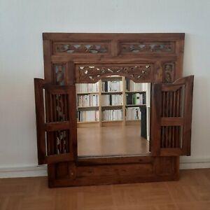 Miroir mural en bois avec sculpture style asiatique et volets refermable