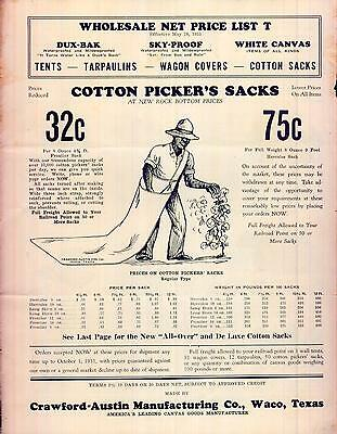 Cotton Picker's Sacks Price List Tents Crawford Austin Mfg Co Waco
