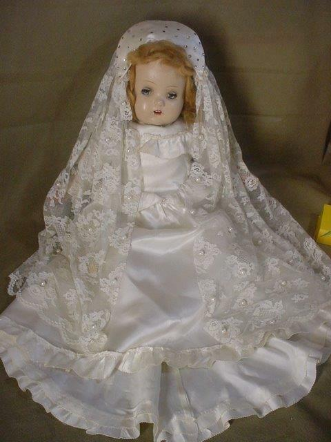 RARE Vintage PEARLS WEDDING DRESS Composition Doll 20   Sleepy EYES Open Mouth