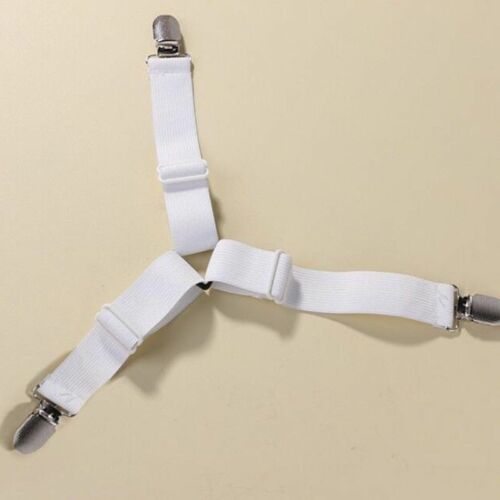 Elastic Suspenders Clips Bed Sheet Straps Grippers Fasteners with Metal Clasp