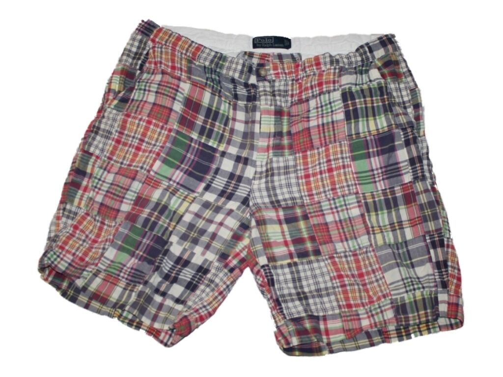 Men Ralph Lauren Polo Madras Plaid Print Shorts Size 38