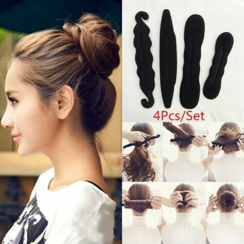 4Pcs Women Donut Foam Sponges Styling Hair Clip  Magic Quick Messy Bun
