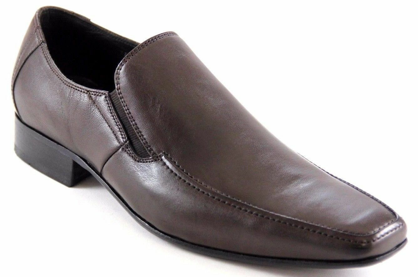 Sarreti Men's Brown Coffee Leather Slip On Dress shoes MADE IN BRAZIL 0226-P