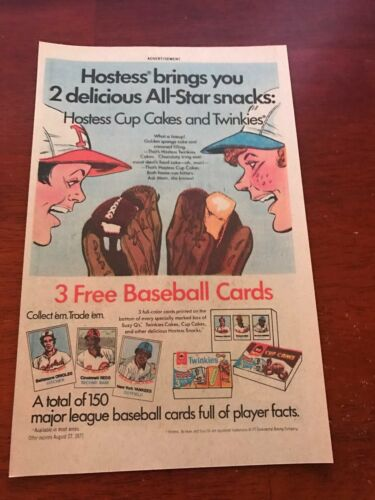 1977 VINTAGE 6.5X10 COMIC PRINT AD FOR Hostess Twinkies//CUP CAKES BASEBALL CARDS