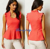 Sp M Mp L Anthropologie Isolde Top, Coral Color, Flutter-sleeved, Effortless