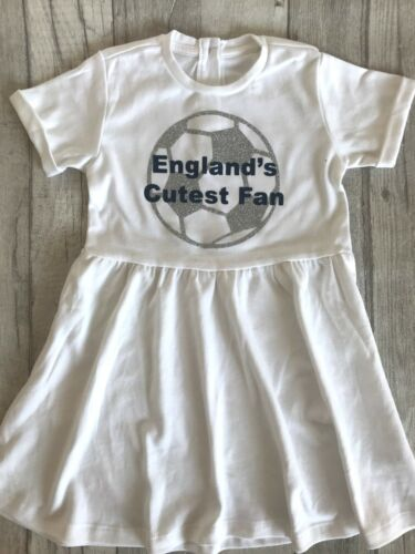 White Smock Dress Silver Football Blue Cutest Fan ENGLAND FAN FOOTBALL SUMMER