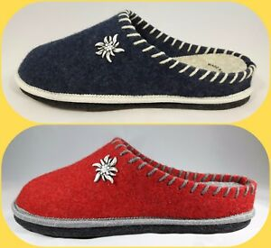 Ciabatte Pantofole Grunland GIES 919 Rosso Blu Feltro Lana Cotta Made In Italy