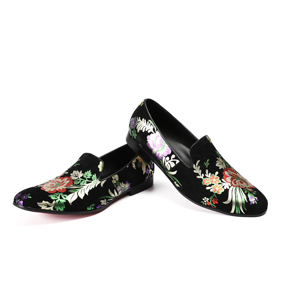 New Uomo Round Toe Pelle Slip On Loafers Embroidered Wolk Pelle Toe Floral Shoes Plus sz bd7c5c
